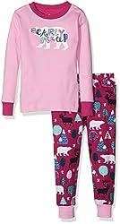 Hatley Big Girls' Bearly Asleep Pajama Set, Pink, 12