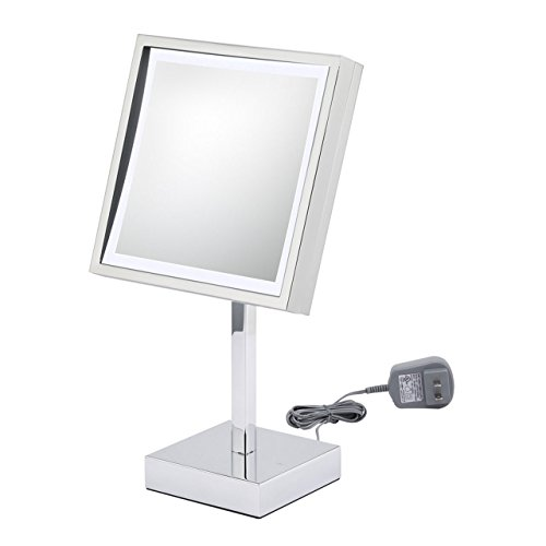 Kimball & Young 71243 Single-Sided Led Square Vanity Mirror With 6-Feet Power Cord, Qchrome front-800204