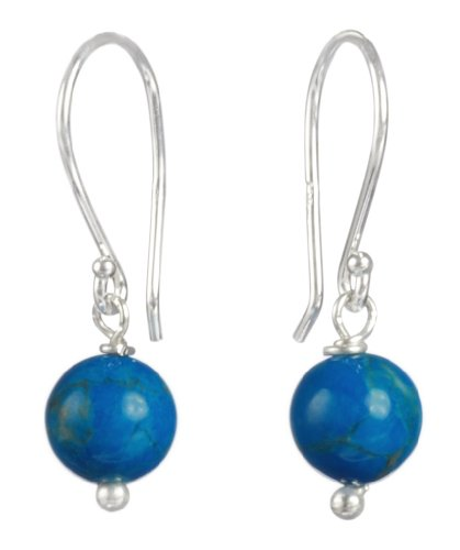 Sterling Silver Howlite Dyed Turquoise 6mm Bobby Drop Earrings