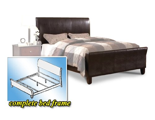 Queen Size Brown Espresso Leather Platform Bed Tall Headboard & Footboard