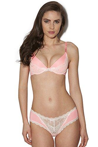 Smart & Sexy Cradle Lace Jeweled Pushup Bra Set (38D/8, Pink Glow)