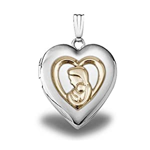 Mother and Child Locket 3/4 Inch X 3/4 Inch: Locket Necklaces: Jewelry