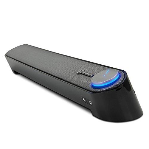 GOgroove UBR Altoparlante Soundbar USB per Computer con Design Angolato per una Proiezione Potente del Suono, Jack da 3.5mm per Cuffie + Microfono e Controllo Volume e Alimentazione in un Solo Tasto per Computer PC