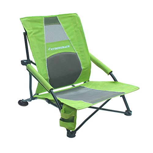 STRONGBACK Low Gravity Beach Chair with Built-In Lumbar Support, Lime Green and Grey Mesh (Low Profile Beach Chair compare prices)