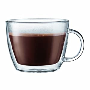 Bodum Bistro Double-Wall Insulated Glass Cafe Latte Mug, 15-Ounce, Set of 2