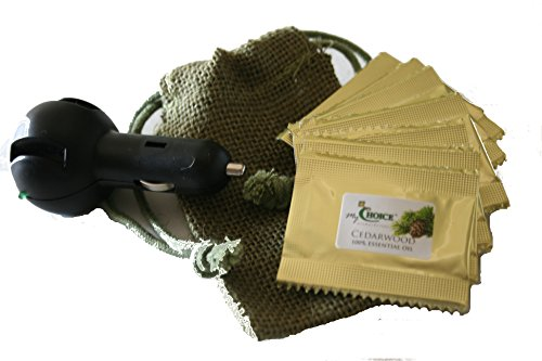 100% Pure Cedarwood Essential Oil - 8 Scented Pads & Car Diffuser - Natural Air Freshener