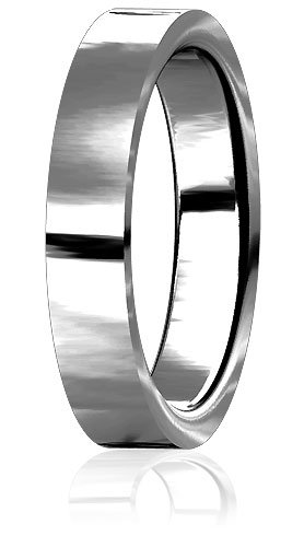 Plain Mens or Ladies Flat Wedding Band, 5mm wide, 2mm thick, comfort fit in Sterling Silver - size 13.25