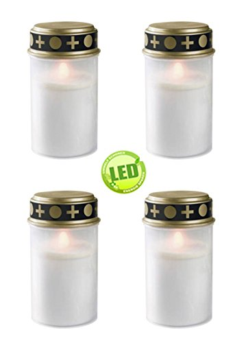 Set of 4 grave lights white , LED candle , candle grave , Eternal Light , flicker
