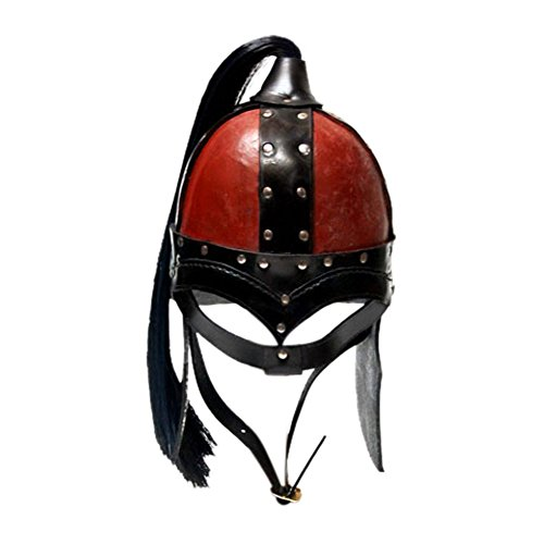 Armor Venue: Medieval Horseman Leather War Helmet Head Armour Black/Red One Size