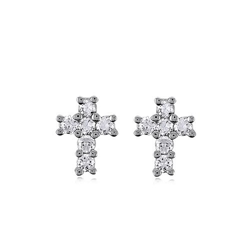 Cubic Zirconia CZ Sterling Silver Small Cross Stud Earrings, Holiday Christmas Gift