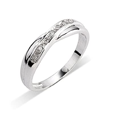 Beautiful F/SI 0.10 Carat Round Diamond Half Eternity Ring,9k White Gold