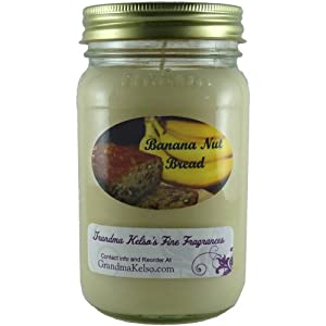 Banana Nut Bread Scented Soy Candle, Large 16 Ounces. Long Lasting Burn Time With This Premium High Quality Clean Burning 16oz Large Jar Candle. You Will Swear Mom Is Baking When You Smell This Wonderful Scent. 100% Biodegradable Eco-Friendly Soy Wax, Proudly Made In The USA.