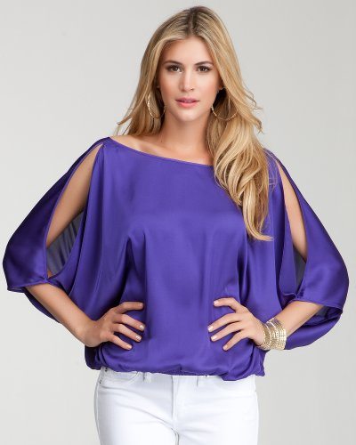 Bebe Peek Shoulder Surplice Back Top Deep Purple Size XX-Small