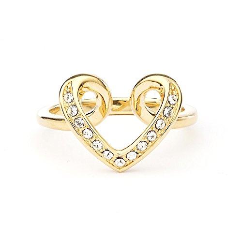 MYJS Cupidon cuore placcato in oro, con cristalli Swarovski trasparenti e Placcato oro, 13,5, cod. 1-1146GCLR175