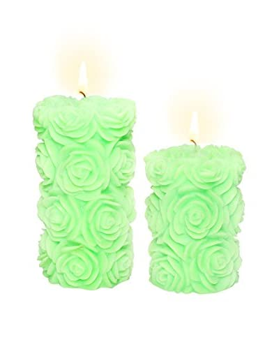 Volcanica Set of 2 Lime Green Flora Pillar Candles