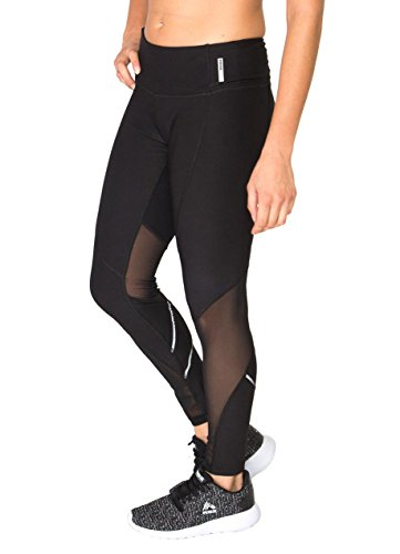 RBX Active Women's Spliced Legging with Mesh and Reflective Tape Black M