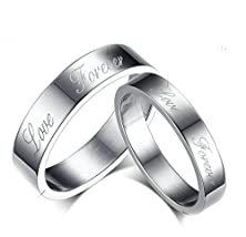 """buy Daesar Womens Wedding Bands Stainless Steel Ring For Couple Silver """"Forever Love"""" Ring Cz Size 6"""