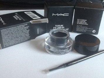 Mac Eye Liner Gel Fluidline Makeup Mac Cosmetics with Brush Black Color