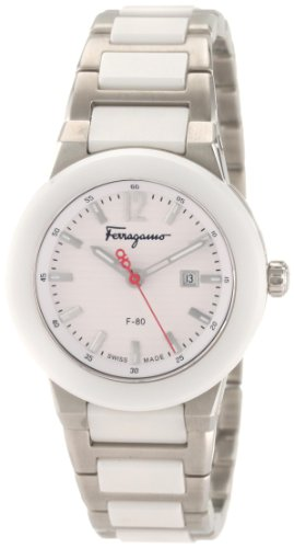 Ferragamo Women's F53SBQ98101 S981 F-80 Quartz 3-Hands White Ceramic Watch