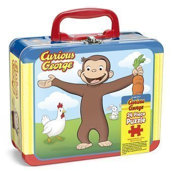 Pressman toys curious george puzzle in lunchbox tin 24 for Decor 6 piece lunchbox