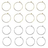 Floranea 25 MM Wire Glass Charm Rings 50 Pcs Gold 50 Pcs Silver Earring Breads Open Hoop for Distinguish Wire Glasses Making Jewelry Art Project Wine Parties Wedding Evening Favor (Color: Silver, Gold)