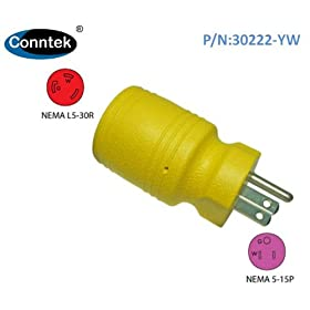 Conntek Twist Lock Adapter with 15 Amp 125 Volt Male Plug To 30 Amp Female Connector