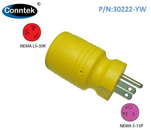 Conntek Locking Adapter with 15 Amp 125 Volt Male Plug To 30 Amp Female Connector