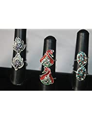 NAK's Combo Of 3 German Silver Toe Rings,Peacock Toe Ring Included - SKUTR118