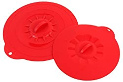Cookstyle Silicone Suction Lid Food Covers Set, 1 Pair , Color Red