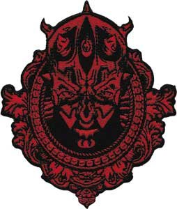 Star Wars / Clone Wars Lucas Movie Novelty Iron On Patch - Darth Maul Framed Crest Face Head Applique