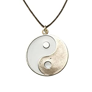 Yin Yang Symbol in White Enamel Finish on Adjustale Natural Cottn Cord