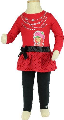 Strawberry Shortcake Toddler Girls Faux Necklace Tunic Top & Leggings Set Sz 4T front-233984