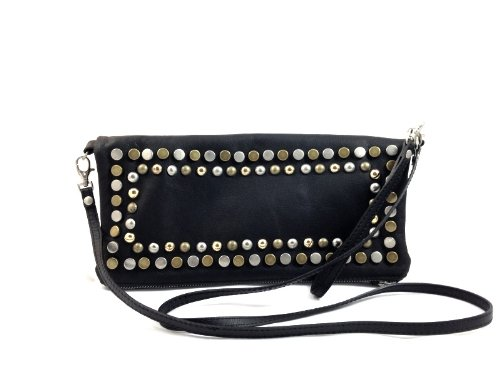 Women's Fashion Black Genuine Leather Baguette Handbag with Studs - Made in Italy