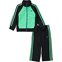 adidas Baby Boys\' Tricot Zip Jacket and Pant Set, Black/Green, 18 Months