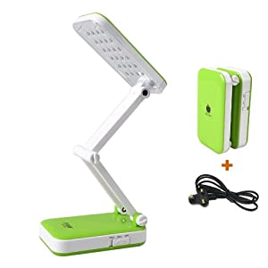 Portable Daylight Desk Lamp 2 Watts Bright 24 LEDS Touch ON OFF,Adjustable and Dim Function (LED-666, Green) by BXT-LED