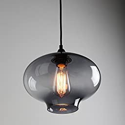 Permo 1 Light Retro Smoked Gray Clear Glass Round Bottle Shade Hanging Pendant Light Fixture