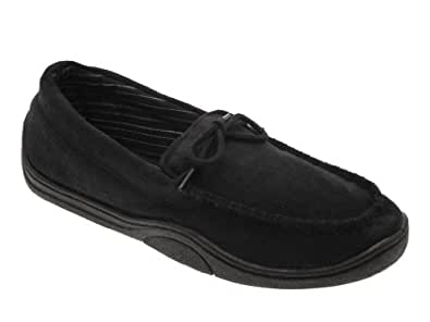 MENS MOCCASIN SLIPPERS MULES SOFT WARM COMFORTABLE FAUX SUEDE FLEXIBLE BLACK 7