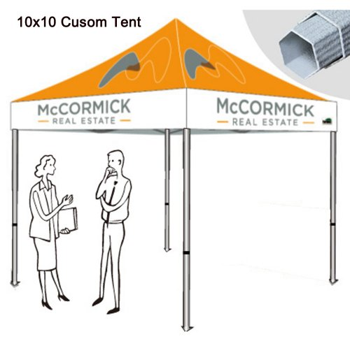 Eurmax 10X10 Pop Up Canopy Custom Printed Canopy With Custom Logo (10X10, Premium Canopy Frame) front-831303