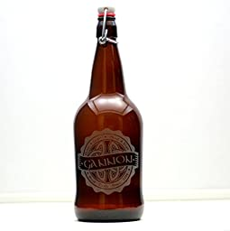 Personalized Engraved Fathers Gift Growler with Celtic Knot Art Base   Custom Beer Gift