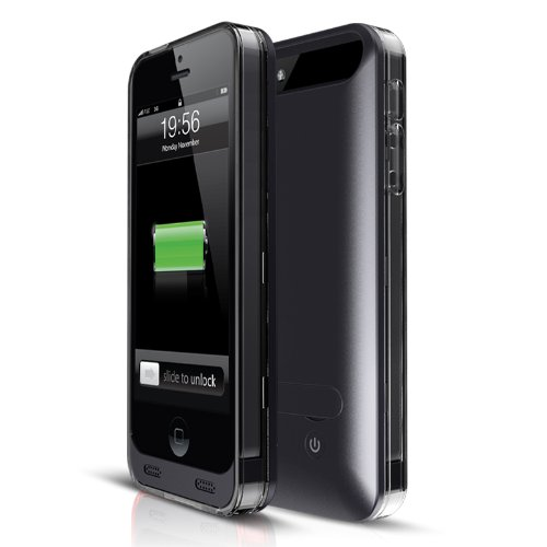 Mota 2400Mah Mfi Approved Rechargeable Double Added Battery Life Extended Battery Case For Apple Iphone 5/5S - Retail Packaging - Black