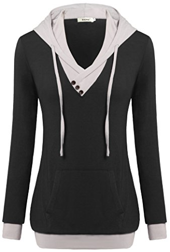 Women Top,Bepei Button Down V Neck String Hoody Sweatshirt Office Blouse Black M