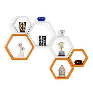 Forzza Sasha Wall Shelf, Set of 6 (Lacquer Finish, White and Orange)