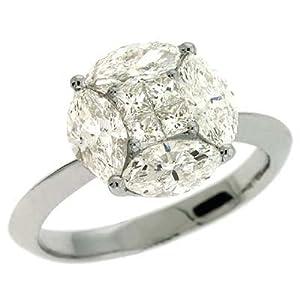 14k White Trendy 1.88 Ct Diamond Ring - Size 7.0 - JewelryWeb