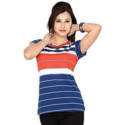 Prova Blue and Blue Half Sleeve Women's Cotton Shirt (Size: XX-Large)