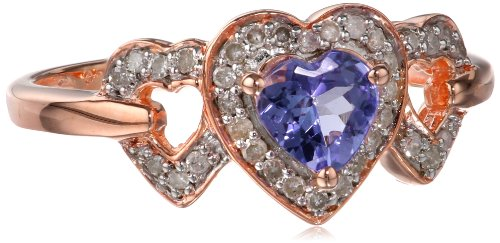 Sterling Silver Tanzanite and Diamond Heart Ring (0.12Cttw, G-H Color, I2-I3 Clarity), Size 7