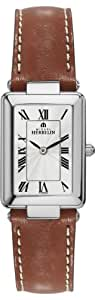 Michel Herbelin Women's Quartz Watch with White Dial Analogue Display and Brown Leather Strap 17463/08GO