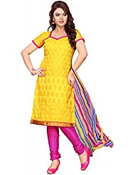 Yehii Women's Chanderi Yellow Plain / Solid Dress Material Unstitched Salwar Kameez Dupatta For Women Party Wear...