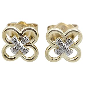 Brand New Round Brilliant Cut Stylist Earring With Pushback, 10k Yellow Gold