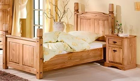 Einzelbett Bett 100 x 200 cm 1485 Mexican Kiefer massiv antik gewachst Neu