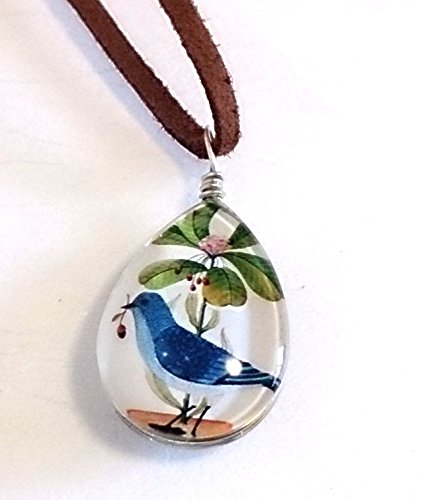 おしゃれ で かわいい 幸せ を 運ぶ 青い鳥 ティアドロップ 型 ガラス玉 ペンダント ネックレス 森ガール (2個)